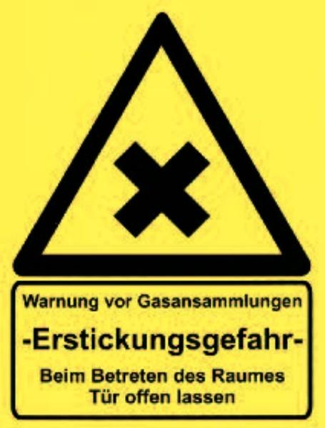 Aufkleber Warnung vor Gasansammlung